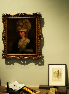Fanny Burney and Niccolo Paganini at then National Portrait Gallery (Hanging Peter's exhibit 'Obly Connect' in 2011)