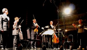...more on the concert last Monday! A nice overview of th e concert, and here is the GREAT Edward Cowie, on stage with us for the first time. With thanks to Frances Mayhewand her fabulous team at Wilton's Music Hall., our musical home!