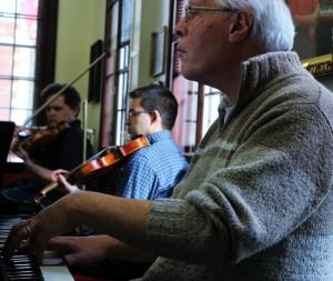 Composer/pianist Michael Finnissy, Peter Sheppard Skaerved, and Mihailo Trandafilovski