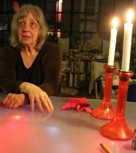 Gloria Coates, discussing her 10th Quartet at my table, 4 4 16