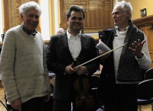 After the concert, at Deptford Town Hall, tonight, with two of our great composers: David Mattews (we played his 11th Qurtet) and Robin Holloway (I premiered his Sonatina for violin). Along with works by our dear friends Sadie Harrison? and David Gorton?. With Neil Heyde. Morgan Goff?, Mihailo Trandafilovski?. As I said at the concert, we live a time of musical richness, and its a privilege to explore