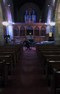 Peter Sheppard Skaerved rehearsing Michael Rose's works in Moretonhampstead Church 9/1/16