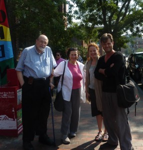 With composer Elliott Schwartz, his wife, artist Deedee Schwartz, and writer Malene Skaerved. Portland, Maine-August 2011. Breakfast, and plotting more developments for our Jefferson/Cosway project