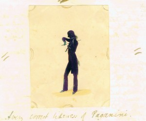 Simple silhouette of Paganini, apparently made during his last visit to the UK in 1834. Even this crude rendering gives a powerful idea of his unique posture.