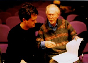 Working on the violin concerto with George Rochberg, Saarbrucken, March 2002. Photo: Chris Lyndon-Gee