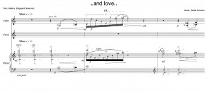 ...and love.. (opening of a brand new work for voice, violin and piano) by Sadie Harrison. Text: Malene Skaerved