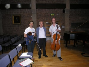 PSS and Neil Heyde with Sir Peter Maxwell Davies. Recording 'Lullaby'. London 2007