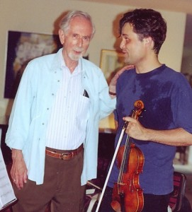 With George Rochberg at Newtown Square, 2001. At work on Caprice Variations.
