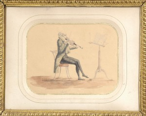 Giovanni Battista Viotti playing for dancing 'Le Racleur' . Anonymous watercolour. UK ca/1815-1824-Private Collection.