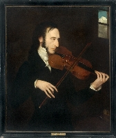 Niccolo Paganini (depicted as if in prison) Attributed to Daniel Maclise. Interestingly, this is the only close up painting of Paganini playing that I know. Look at the fascinating depiction of the bow hand, related to the guitar hand position, and the careful depiction of the artfully broken e a and d strings.
