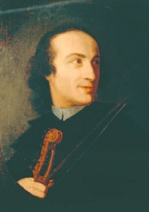 Tartini, pictured at the beginning of his career in Padua-interestingly holding a vola d'amore