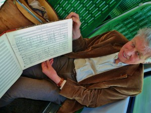 David Matthews on the train to record, with a 1970 manuscript