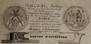 Part of Vuillaumes advertisement for his 'self-rehairing bow' (Collection PSS)