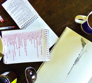 Notebooks, coffee, ideas