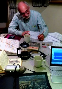 Shared work table with Michael Alec Rose-the Bothy, Manaton. While working on his 'Erme Plains' the result of today's walk Dartmoor, we realised that his 'Horror' movement of the new work for the wonderful pianist, Zubin Kanga, transcribes very well for solo violin.