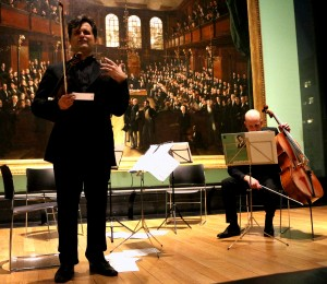 Peter Sheppard Skaerved introducing the Kodaly Duo Op 7, with Neil Heyde. National Portrait Gallery 14 3 14
