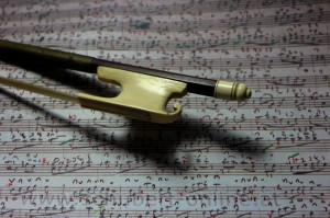 Cramer Model Bow, with my worked copy of Schubert's '8 Ländler' 1816