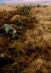 Along the stone row, to the circle. Erme River below