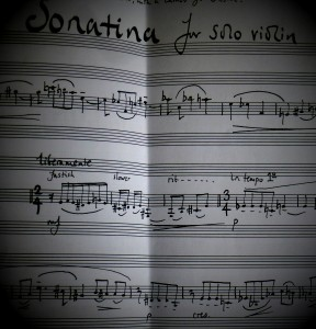 First steps with an unheard work. Robin Holloway's 'Sonatina' for solo violin, on the practice desk, 29 1 14
