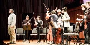 Micahel Alec Rose presenting the whole crew in Turner Recital Hall (Photo David Gorton)