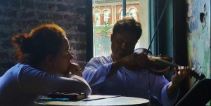 Malene and Peter at work in 2012, on a collaboration bringing together Biber and Storytelling at Wiltons Music Hall