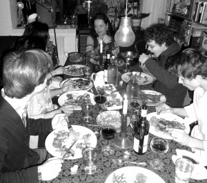 Final supper in Wapping: the Nashville musicians with Malene and Marius Skaerved 8 3 14