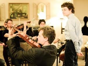 Peter Sheppard Skaerved with composer Sean Calhoun. Nashville 24 2 14. Photo;David Gorton