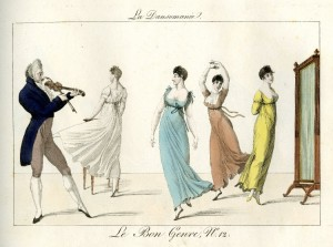 Dance Mania. The view from Paris in 1814. The violinist in his most lucrative milieu, with 'pochette' in hand.