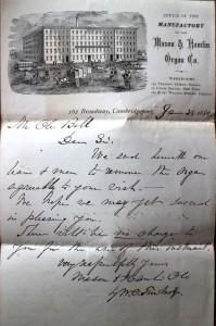 The letter to Ole Bull from Mason & Hamlin
