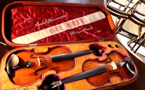 The case he made for this instrument, and the 1732 del Gesu-note the embroidery 'Niccolo Amati 1647'
