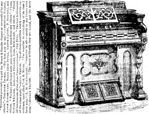And advertisement for Mason & Hamlin Cabinet Organs, with Ole Bull's endorsement. This was prominently displayed on the programme of the 'World Peace Jubilee' Frenc Concert (June 20 1871) {Source-Library of Congress}. Henry Mason was on the organising committee