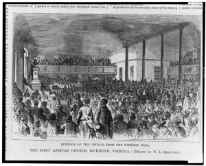 First African Baptist Church, Richmond, Virginia—Interior of the church, from the western wing William Ludwell Sheppard, artist. Published in 1874