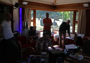 Listening back. The Kreutzer Quartet, Engineer Jonathan Haskell, and David Matthews. Aldbury Parish Church 'chapter house' 30 7 14