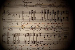 A miraculous piece: my score of 'Sospiri' with Elgar's extraordinarily detailed pedalling and implied portamenti highlighted. 14 10 14