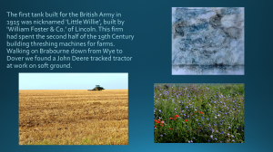 Poppies and Cornflowers in a Meadow near Wye, July 2014, and a tracked farm machine, near Delting
