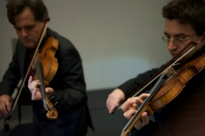 Mihailo Trandafilovski and Peter Sheppard Skaerved playing Scelsi 'Arc en Ciel' Photo Neil Heyde