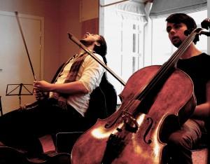 A cellist having a Walt Whitman moment. Bjørn Sanders and Theodor Lyngstad at Lysebu. 24 1 15