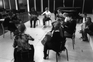 Opening the composers workshop. Carl Nielsen Conservatory, Odense, 2004 (composers Rasmus Zwicki and Lars Bagger at right) Photo Richard Bram