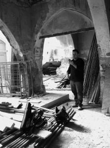 Evis Sammoutis collecting sound with Peter Sheppard Skaerved. Nicosia November 2014
