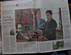 Article about the work, and the violin meeting its case, with Schak Bull, in today's Bergens Tidende 31 5 16