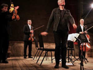 Composer Redgate at the premiere of his 4th Quartet. Wilton's Music Hall 16th June 2015