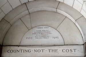 Memorial to nurses who died in conflict from 'S Barts' 18 10 14 Interesting, the quote is a Jesuit one, taken from St Ignatius's 'Prayer for Generosity'