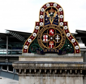 On a walking along the Thames to my home at Wapping, all that remains of the original bridge of the London Chatham and Dover Railway, at Blackfriars-Arms of the LCBR, erected on their bridge at Blackfriars, in 1864