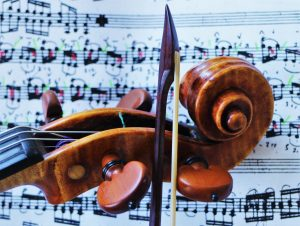 Tartini's 'Art of the Bow, on my desk with an Amati and the Airenti Copy of the Tartini Bow in Trieste. New York City July 2016