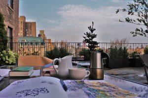 A good place to write. The 'El Dorado', New York City. 7 am 30 7 16