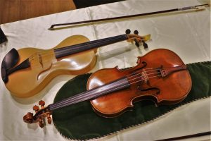 The 'Viotti ex-Bruce Stradivari', with Luca Alessandrini's silk violin and a 1770 Tourte Bow